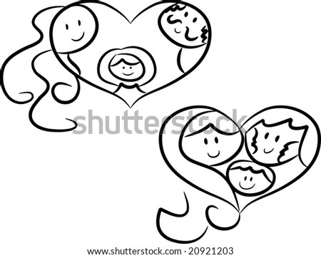 family love: Heart-shaped symbols/icons showing parents with daughter ...
