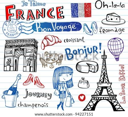 Symbols of France as funky doodles
