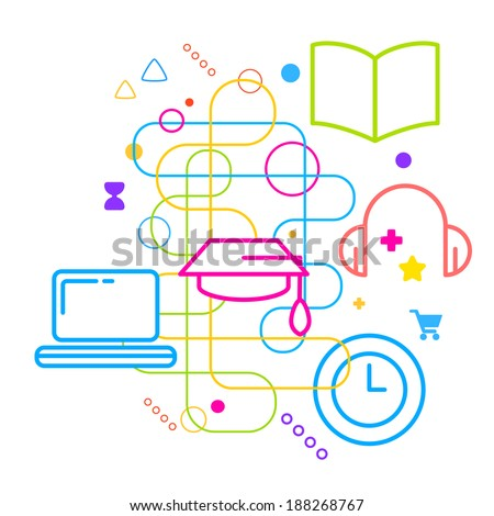 Symbols of higher education on abstract colorful light background with different icons and elements. Line art.