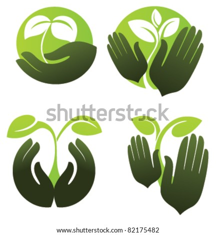 symbols of human's hands and growing plants