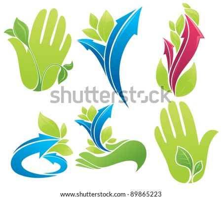 symbols of human's hands growing plants and bright arrows