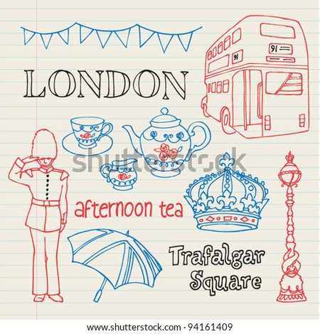 Symbols of London doodles drawing background vector