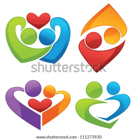 symbols of love and lovers, vector collection of signs and emblems - stock vector