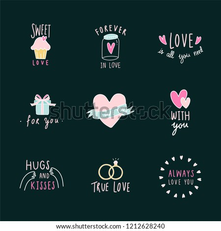 Symbols of love icon set vector #1212628240
