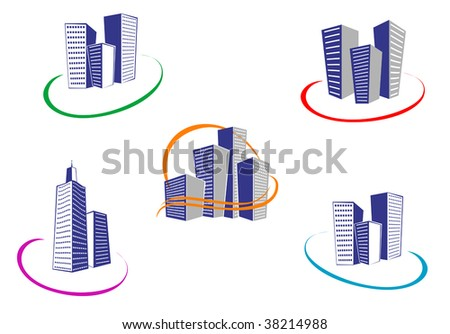 Symbols of modern and ancient buildings - abstract emblem or logo template. Jpeg version also available
