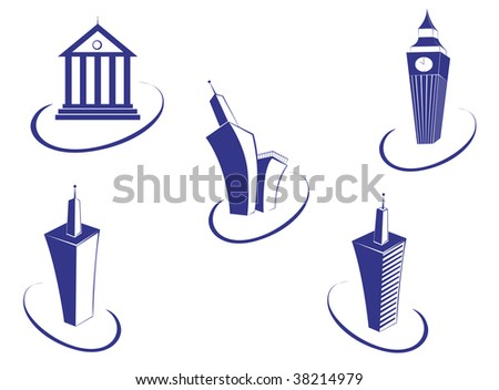 Symbols of modern and ancient buildings for design - abstract emblem or logo template. Jpeg version also available - stock vector