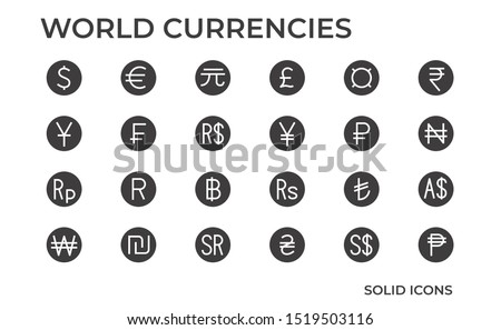 Symbols of money. World Currency Icon such as dollar, euro, yuan and other currencies. Vector solid icons.