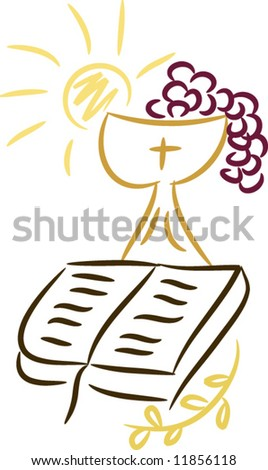 Symbols of religion and christianity including sun, bible, cross, grapes, chalice and wheat; isolated (vector)