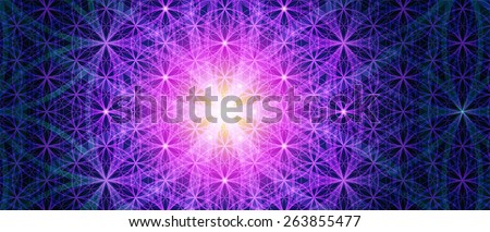 Symbols of sacred geometry, depict fundamental aspects of space and time. Background Flower of life symbol variations.