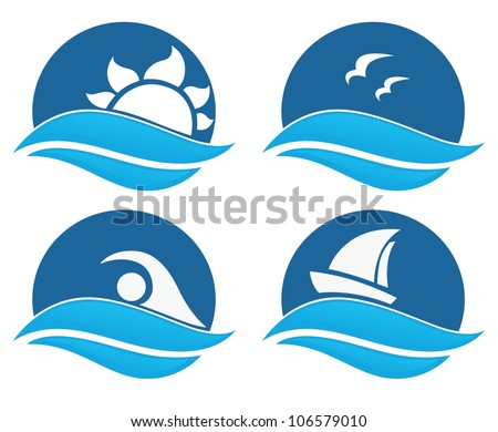 symbols of sea and summer adventure