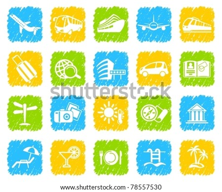 Symbols of travel, rest and tourism