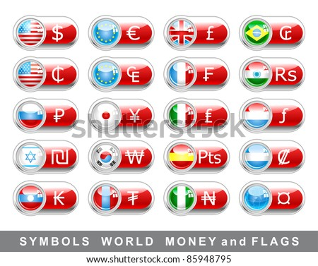 symbols of world money and flags