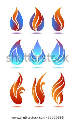 symbols red and blue fire on