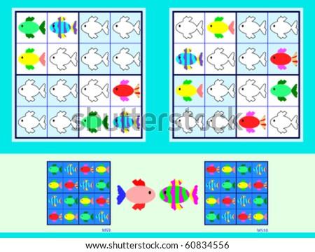 Symmetrical Mini-Sudoku vector set. Very Easy