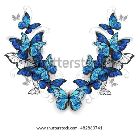 symmetrical pattern of blue