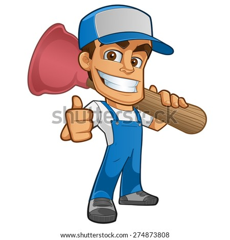 Sympathetic plumber, wearing a plunger, he will dress in work clothes