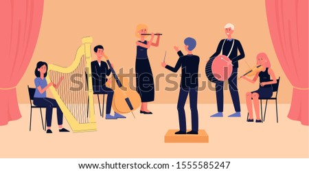 Symphony orchestra banner - cartoon people with musical instruments playing classical music on concert stage while looking at conductor. Flat vector illustration