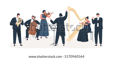 Symphony orchestra flat vector illustration. Professional musicians playing musical instruments on stage with conductor. Classical music concert. Violin, cello, clarinet, harp and french horn players.