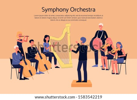 Symphony orchestra musicians playing classical instrumental music on concert stage - cartoon people with musical instruments. Flat banner with text template - vector illustration