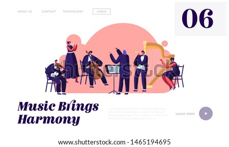 Symphony Orchestra Playing Classical Music Concert Website Landing Page, Conductor and Musicians with Instruments Performing on Stage, Performance Web Page. Cartoon Flat Vector Illustration, Banner