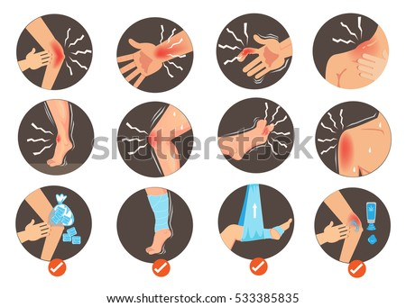 Symptom of Sprains and  First Aid. Body Parts within the circle  isolated on white background. Vector illustration.