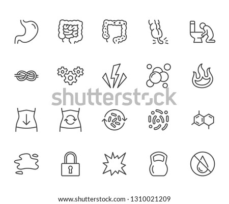 Symptoms of abdominal disease flat line icons set. Stomach pain, appendicitis, heartburn, spasm, diarrhea vector illustrations. Thin signs for digestion. Pixel perfect 64x64. Editable Stroke