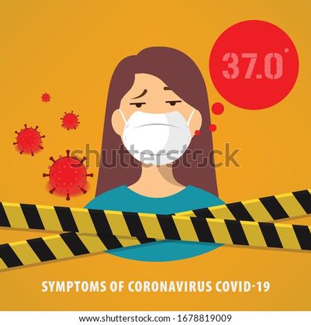Symptoms of CORONAVIRUS COVID-19, doctor tell the symtoms of covid-19 disease. Coronavirus lockdown concept. vector illustration.