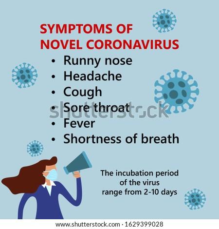 Symptoms of COVID-19 Wuhan Novel coronavirus (2019-nCoV), woman in suit with blue medical face mask. Concept of coronavirus quarantine Stock photo ©