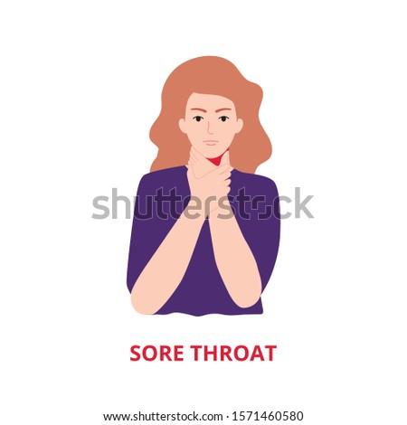 Symptoms of illness - sore throat vector illustration flat style
