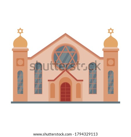 Synagogue Mosque Building, Religious Temple, Ancient Architectural Construction Vector Illustration Photo stock ©