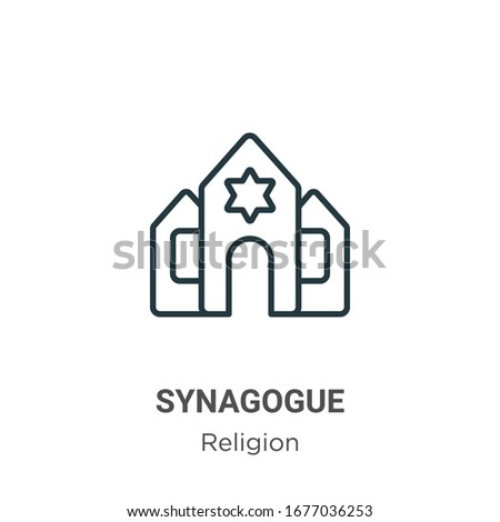 Synagogue outline vector icon. Thin line black synagogue icon, flat vector simple element illustration from editable religion concept isolated stroke on white background Photo stock ©