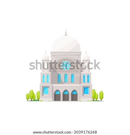 Synagogue vector isolated Jewish religion building flat cartoon. Vector Jewish church architecture landmark. Israel spiritual historic place for pray, worship house, judaic or judaism church