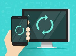 Synchronization of smartphone and computer vector illustration, flat cartoon mobile phone and pc with synch icon on screen, idea of data update, devices connection