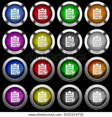Syncronize note white icons in round glossy buttons with steel frames on black background. #1031254732