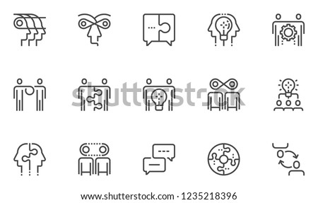 Synergy Vector Line Icons Set. Partnership, Synergy Mind, Human Interaction, Exchange of Views, Team Collaboration, Business Cooperation. Editable Stroke. 48x48 Pixel Perfect.