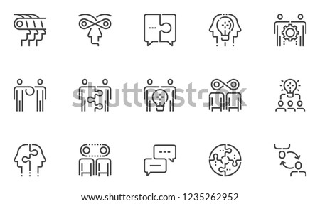 synergy vector line icons set