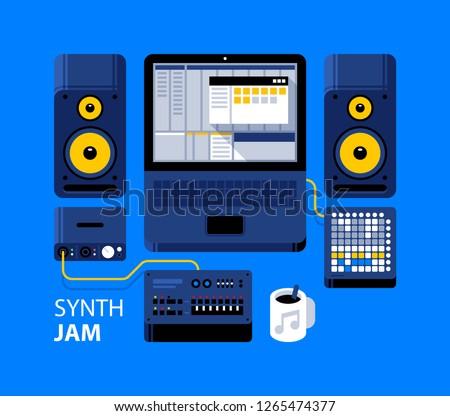 Synth jam illustration. Laptop with DAW, analog synthesizer, studio monitors, midi controller, audio interface. Recording, arranging, mixing.