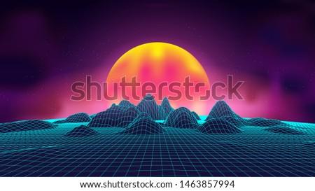 synth wave retro landscape