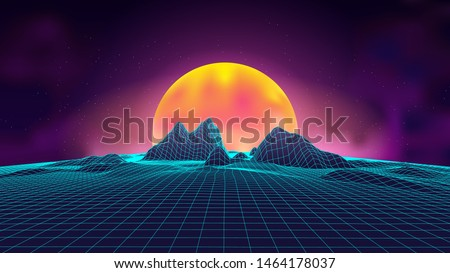 Synth wave retro landscape background sunset 3d landscape. Futuristic 1980s style. 3D grid technology illustration landscape. Digital Terrain Cyberspace in the Mountains with valleys.