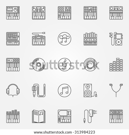 synthesizer linear icons