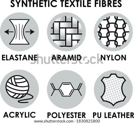 Synthetic textile fibre icons. Elastane, nylon, aramid, acrylic, polyester, PU leather fibers. Fabric symbols