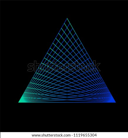 Synthwave cyberpunk style illustration of glowing neon triangle for logotype, poster, design.