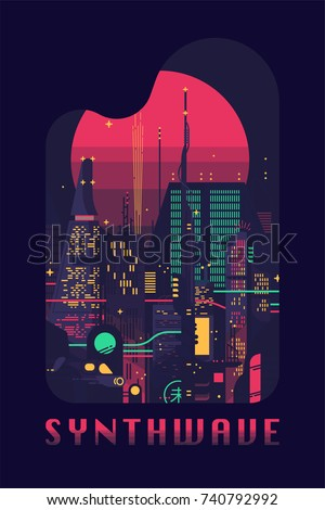synthwave flat vector concept