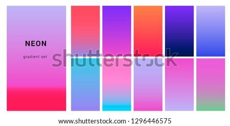 Synthwave neon palette, gradient swatches for design. Trendy pastel colors: purple, blue, and pink duotone gradients, retrowave 80s-90s aesthetics.