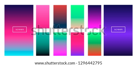 Synthwave neon palette, gradient swatches for desing. Colorful backgrounds in trendy neon colors: UFO Green, Plastic Pink, and Proton Purple, Electric Blue.
