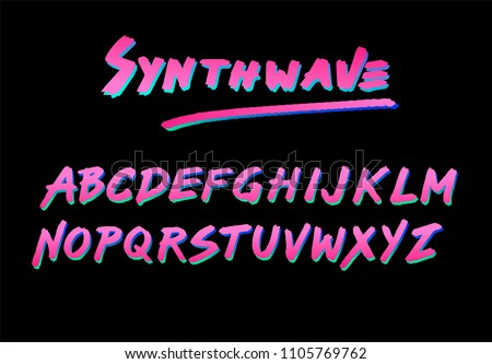 Synthwave/retrowave/cyberpunk style font like in old video games. Cosmic retrofuturistic neon 80s-90s aesthtetics.
