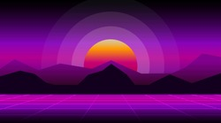 Synthwave retrowave sunset background of futuristic sun on wireframe landscape. Retro 1980s style. Sky with big red glowing. Sci-fi look. Geometric template. Perspective grid.Stock vector illustration