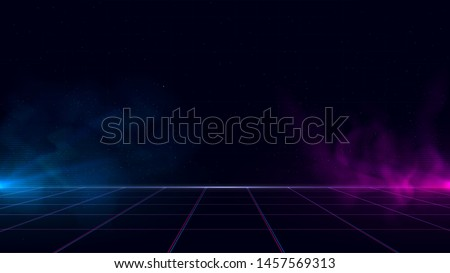 Synthwave/ vaporwave/ retrowave cyber background with copy space, laser grid, starry sky, blue and purple glows with smoke and particles. Design for poster, cover, wallpaper, web, banner, etc.