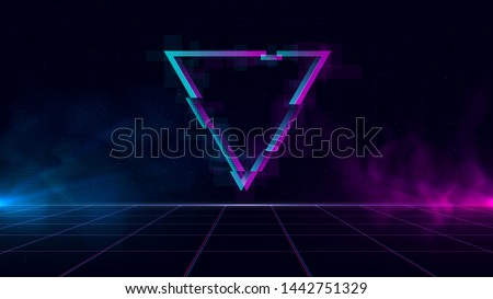 Synthwave/ vaporwave/ retrowave cyber landscape with laser grid, sparkling glitch triangle and blue and purple glows with smoke and particles. Design for poster, cover, wallpaper, web, banner.