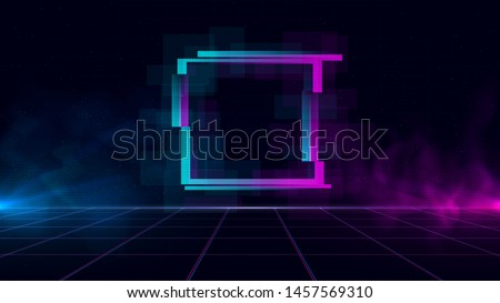 Synthwave/ vaporwave/ retrowave cyber landscape with sparkling glitch square, laser grid, blue and purple glows with smoke and particles. Design for poster, cover, wallpaper, web, banner.